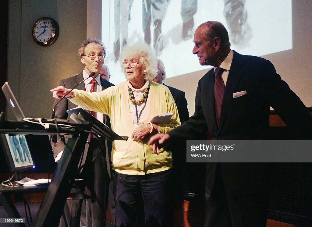 <a gi-track='captionPersonalityLinkClicked' href=/galleries/search?phrase=Jan+Morris&family=editorial&specificpeople=1114231 ng-click='$event.stopPropagation()'>Jan Morris</a> (who before her sex-change operation was James Morris, the first reporter to break the news that Sir Edmund Hillary and Sherpa Tenzing had conquered Everest) with the <a gi-track='captionPersonalityLinkClicked' href=/galleries/search?phrase=Prince+Philip&family=editorial&specificpeople=92394 ng-click='$event.stopPropagation()'>Prince Philip</a>, Duke of Edinburgh during a reception to celebrate the 60th Anniversary of the ascent of Everest, at the Royal Geographical Society in Kensington, on May 29, 2013 in Kensington, West London, England.