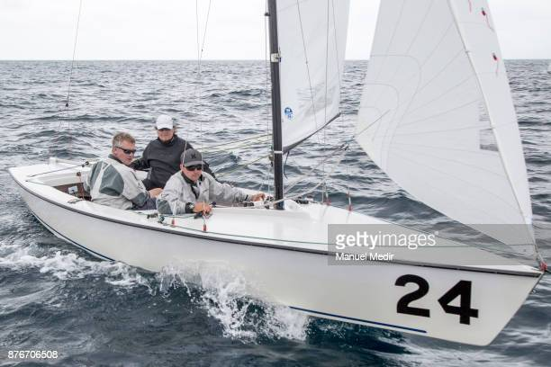 Jan Muysken Mark Lees and David Bedford of Nigeria compete during the 2017 International Master and South American Championships at Salinas Yacht...