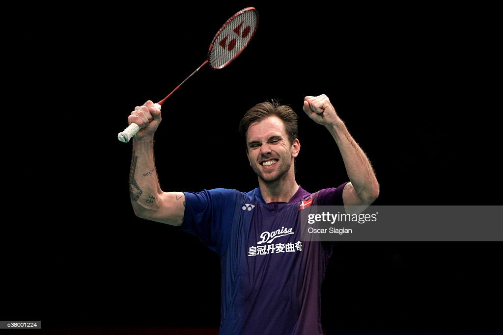 Jan O Jorgensen of Denmark celebrates winning his match during the semifinal of the 2016 Indonesia Open match against Tian Houwei of China on June 4, 2016 in Jakarta, Indonesia.