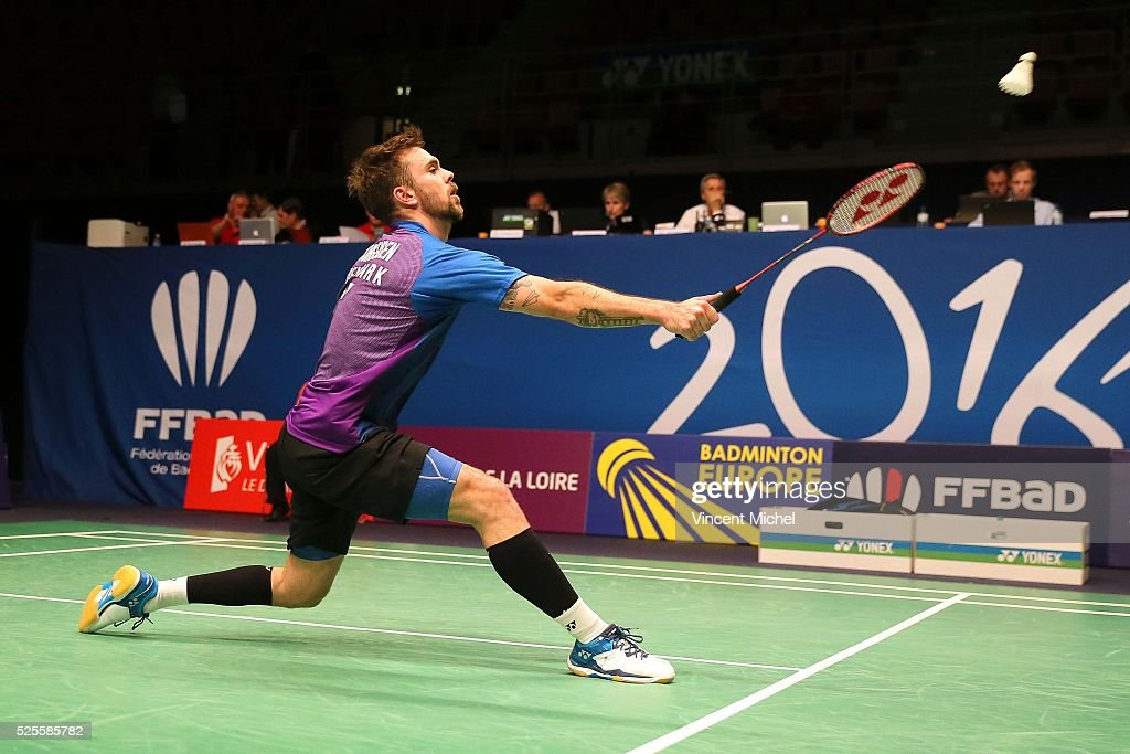 Jan O Jorgensen of Denmark during Men's singles match at the 2016 Badminton European Championships on April 28, 2016 in Mouilleron-le-Captif, France.