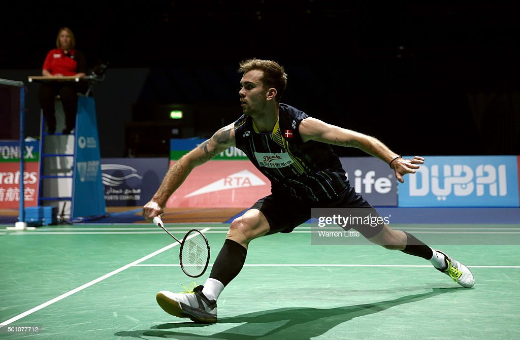 Jan O Jorgensen of Denmark in action against Kento Momota of Japan in the semi final of the men's singles matches during day four of the BWF Dubai World Superseries 2015 Finals at the Hamdan Sports Complex on December 12, 2015 in Dubai, United Arab Emirates.