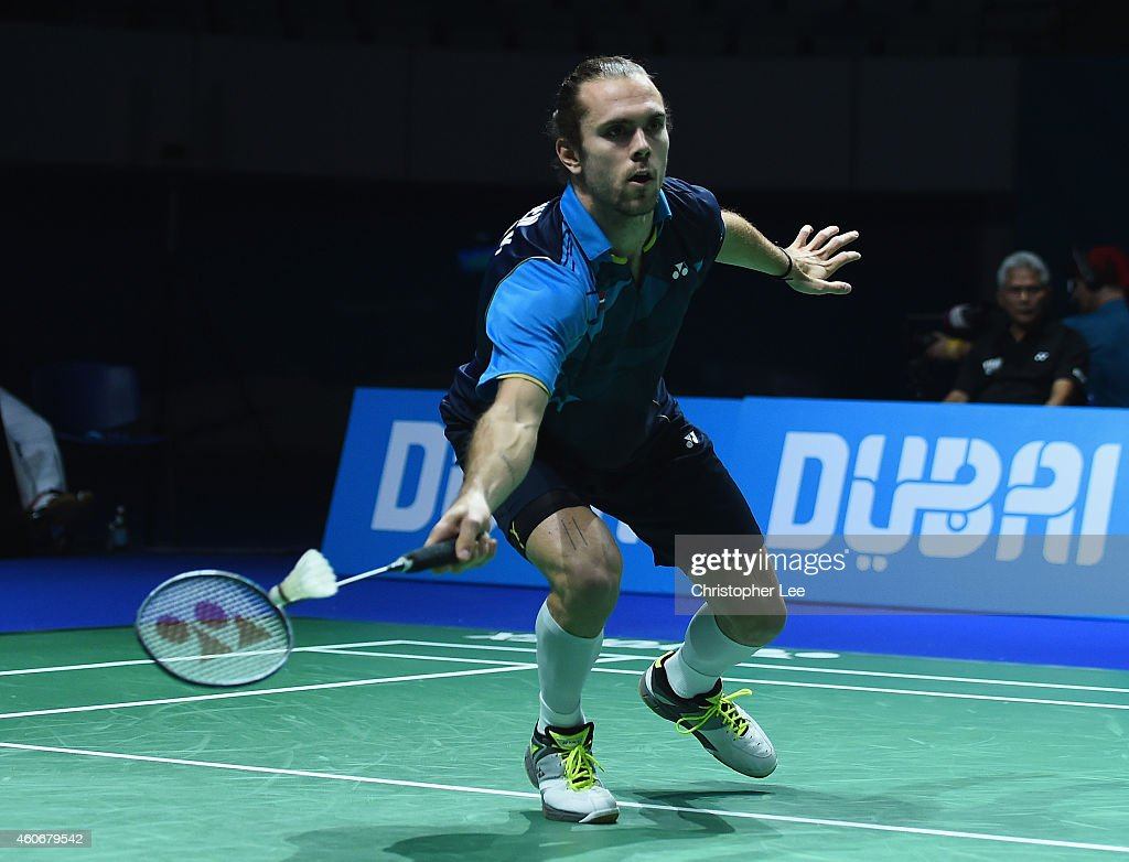 Jan O Jorgensen of Denmark in action against Kidambi Srikanth of India in the Mens Singles during the BWF Destination Dubai World Superseries Finals day three at the Hamdan Sports Complex on December 19, 2014 in Dubai, United Arab Emirates.