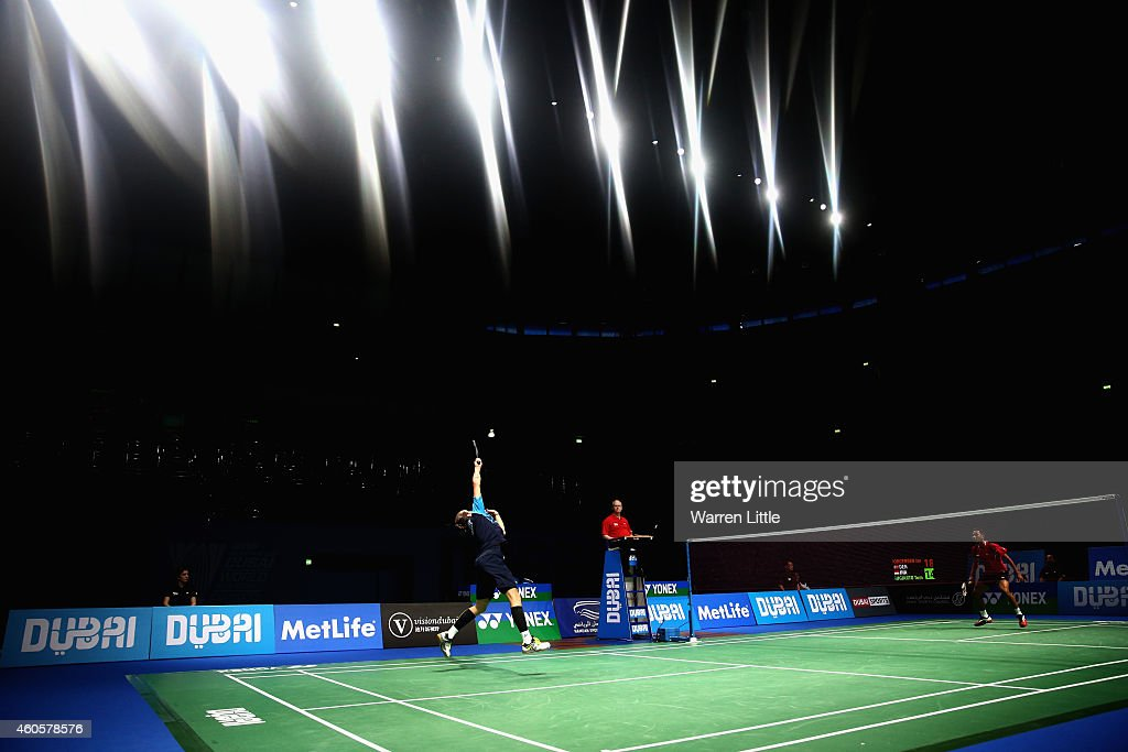 Jan O Jorgensen of Denmark in action against Tommy Sugiarto of Indonesia during day one of the BWF Destination Dubai World Superseries Finals at the Hamdan Sports Complex on December 17, 2014 in Dubai, United Arab Emirates.