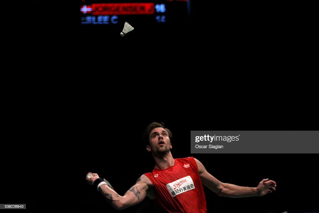 Jan O Jorgensen of Denmark plays a shot during the 2016 Indonesia Open final match in single against Lee Chong Wei of Malaysia on June 5, 2016 in Jakarta, Indonesia.