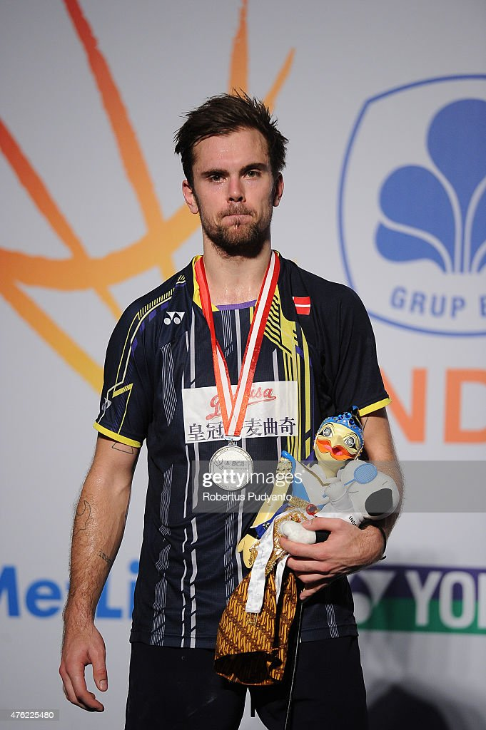 Jan O Jorgensen of Denmark poses on the podium after taking runner-up position Men's Singles in the 2015 BCA Indonesia Open at Istora Senayan on June 7, 2015 in Jakarta, Indonesia.