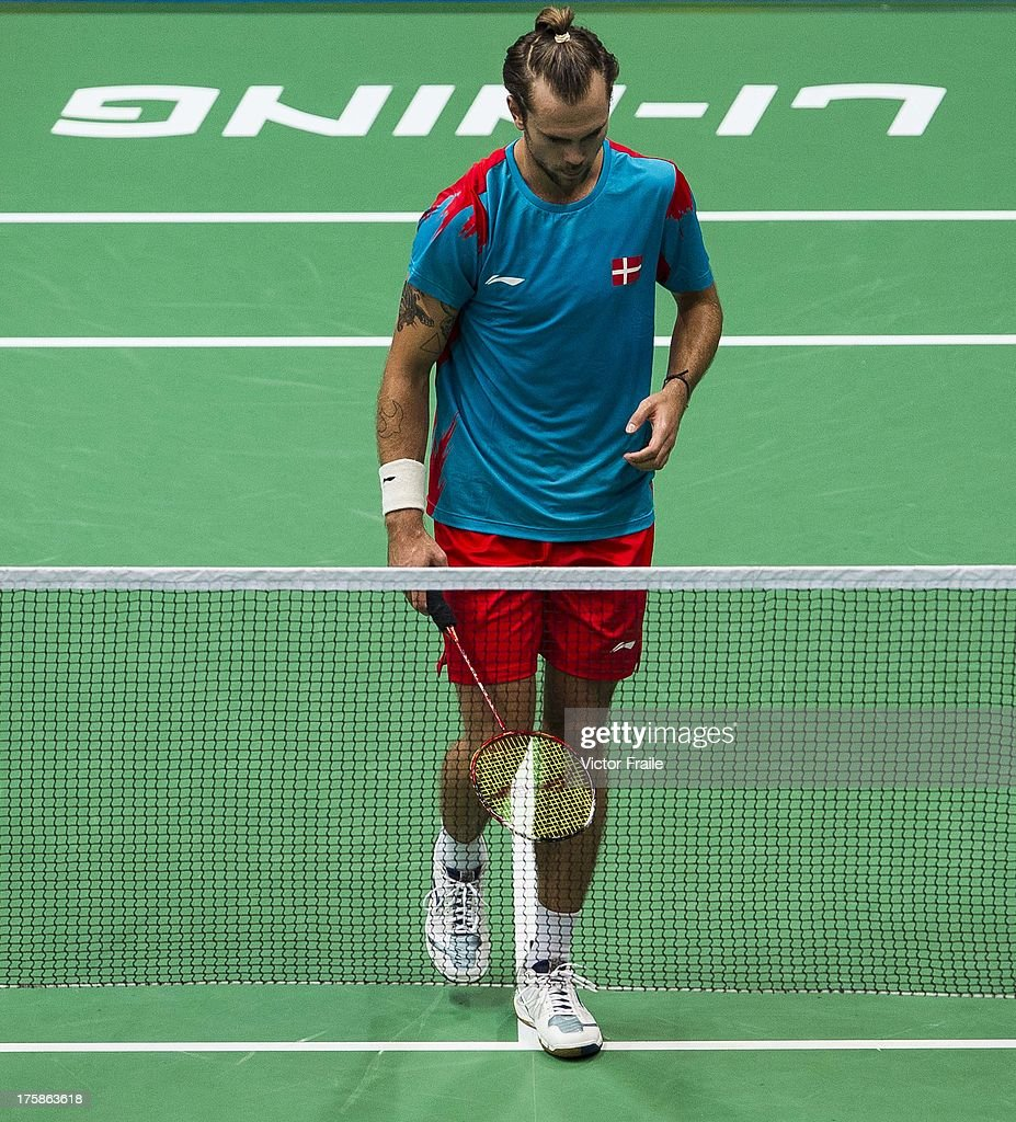 Jan O Jorgensen of Denmark reacts after loosing a point during his match against Tien Minh Nguyen of Vietnam during the Badminton World Championships at the Tianhe Gymnasium on August 9, 2013 in Guangzhou, China.