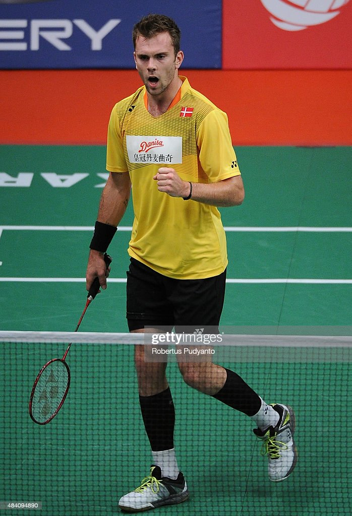 Jan O Jorgensen of Denmark reacts against Lee Chong Wei of Malaysia in the semi final match of the 2015 Total BWF World Championship at Istora Senayan on August 15, 2015 in Jakarta, Indonesia.