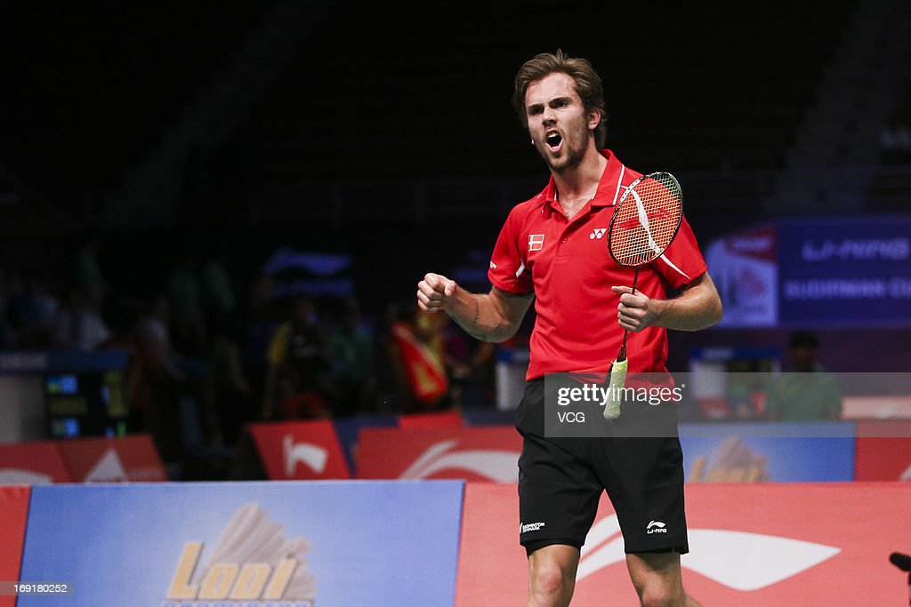 Jan O. Jorgensen of Denmark reacts during the match against Kenichi Tago of Japan during day three of the 2013 Sudirman Cup - World Mixed Team Championships at Putra Stadium on May 21, 2013 in Kuala Lumpur, Malaysia.