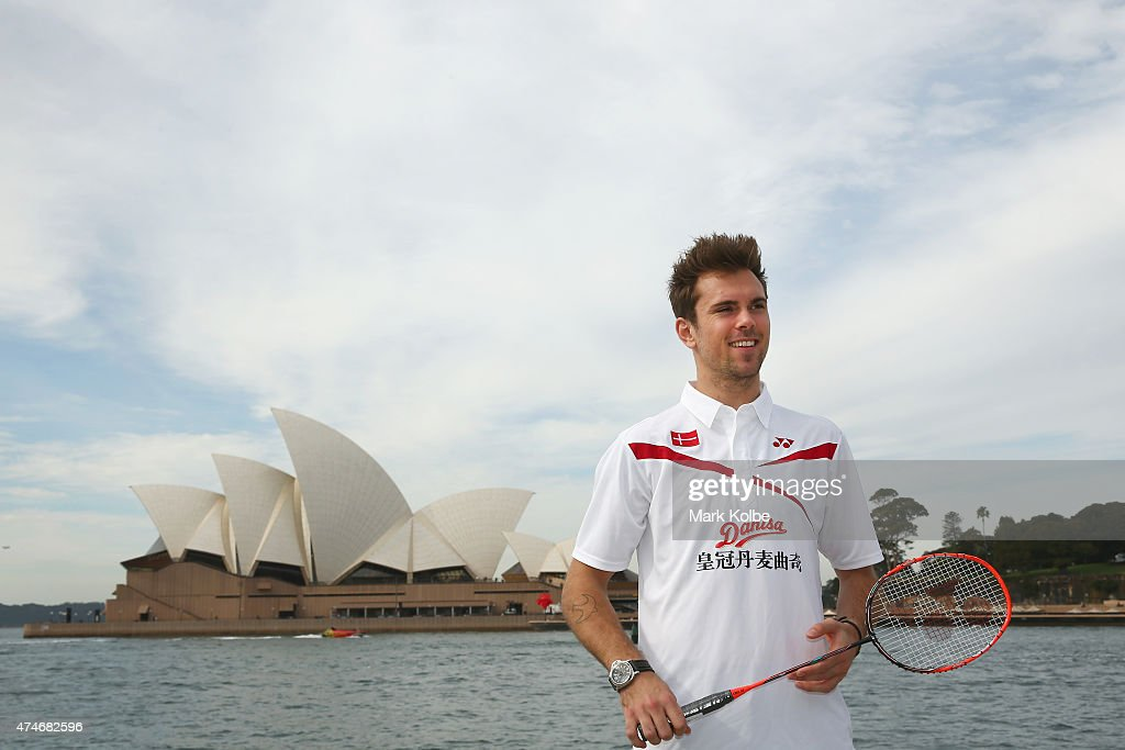 Jan O Jorgensen poses during the Australian Badminton Open 2015 media call at Campbells Cove, The Rocks, on May 25, 2015 in Sydney, Australia.