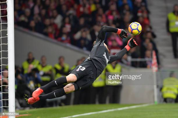 Jan Oblak during the Spanish Primera Division match between Atletico Madrid v Real Madrid at the Estadio Wanda Metropolitano on November 18 2017 in...