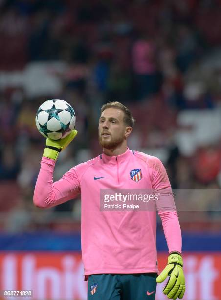 Jan Oblak goalkeeper of Atletico de Madrid holds the ball before the match between Atletico Madrid and Qarabag FK as part of the UEFA Champions...