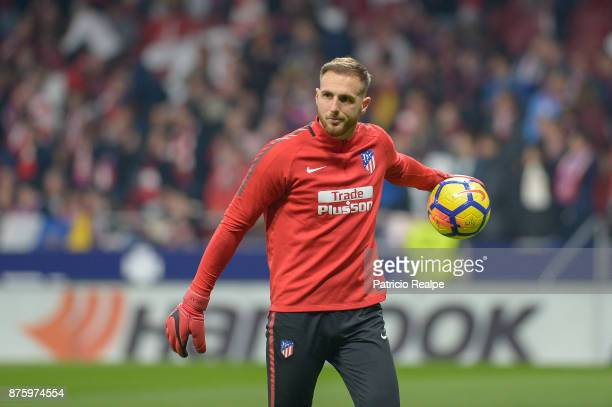 Jan Oblak goalkeeper of Atletico de Madrid warms up prior to the match between Atletico Madrid and Real Madrid as part of La Liga at Wanda...