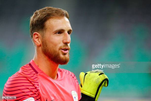 Jan Oblak goalkeeper of Slovenia during the FIFA 2018 World Cup Qualifier between Slovenia and Lithuania at Stadion Stozice on September 4 2017 in...