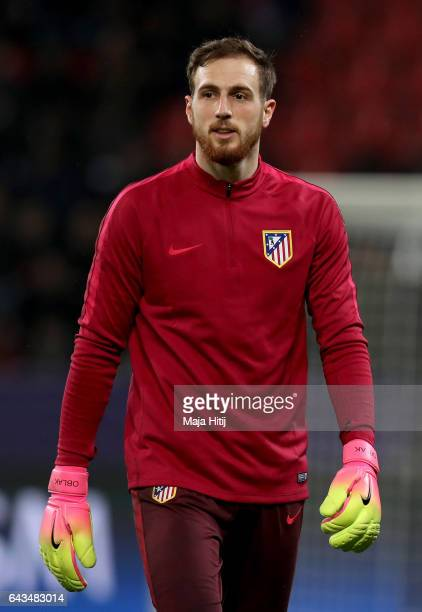 Jan Oblak goaltender of Atletico warms up before the UEFA Champions League Round of 16 first leg match between Bayer Leverkusen and Club Atletico de...