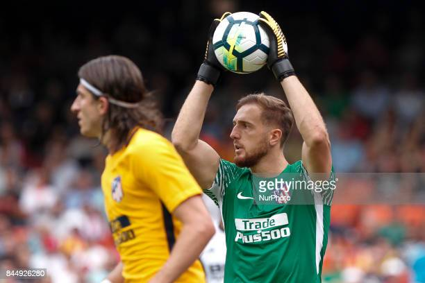 13 Jan Oblak of Atletico de Madrid blocks the ball during spanish La Liga match between Valencia CF vs Atletico de Madrid at Mestalla Stadium on...