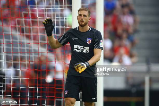 Jan Oblak of Atletico de Madrid durign the first Audi Cup football match between Atletico Madrid and SSC Napoli in the stadium in Munich southern...
