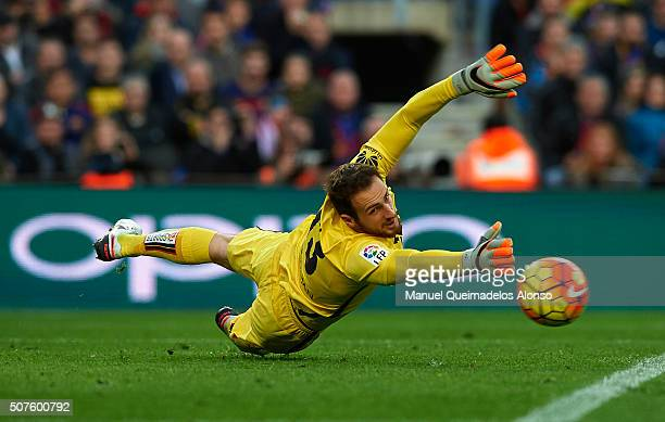 Jan Oblak of Atletico de Madrid in action during the La Liga match between FC Barcelona and Atletico de Madrid at Camp Nou on January 30 2016 in...