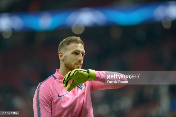 Jan Oblak of Atletico de Madrid looks on before the match between Atletico Madrid and AS Roma as part of the UEFA Champions League at Wanda...