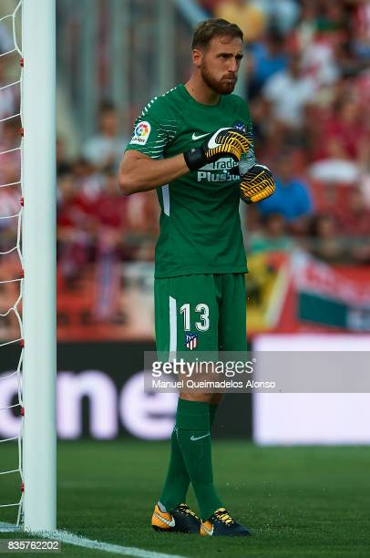 Jan Oblak of Atletico de Madrid looks on during the La Liga match between Girona and Atletico Madrid at Municipal de Montilivi Stadium on August 19...