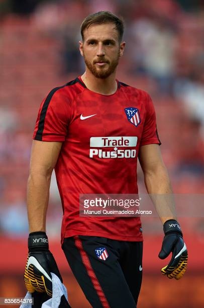 Jan Oblak of Atletico de Madrid looks on prior to the La Liga match between Girona and Atletico de Madrid at Municipal de Montilivi Stadium on August...