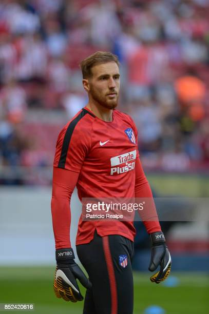 Jan Oblak of Atletico de Madrid looks on prior to the match between Atletico de Madrid and Sevilla as part of La Liga at Wanda Metropolitano Stadium...