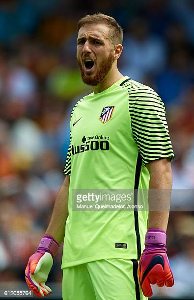 Jan Oblak of Atletico de Madrid reacts during the La Liga match between Valencia CF and Atletico de Madrid at Mestalla Stadium on October 02 2016 in...