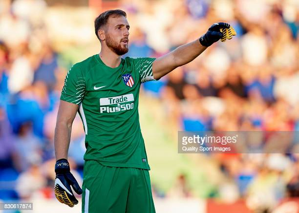 Jan Oblak of Atletico de Madrid reacts during the Pre Season Friendly match between Getafe CF and Atletico de Madrid at Coliseum Alfonso Perez...