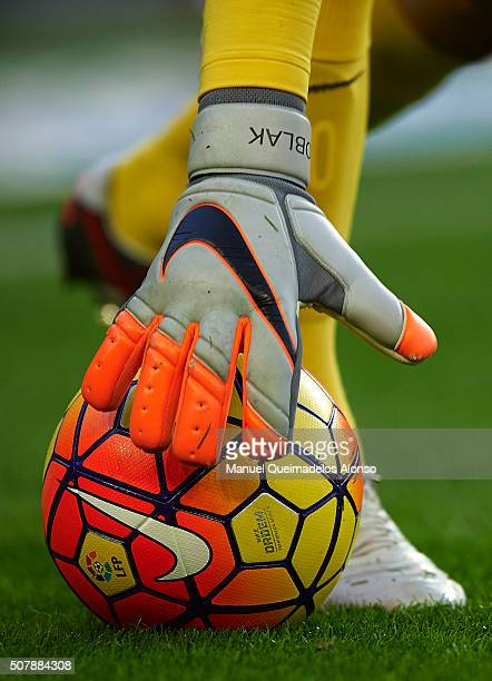 Jan Oblak of Atletico de Madrid takes the ball during the La Liga match between FC Barcelona and Atletico de Madrid at Camp Nou on January 30 2016 in...