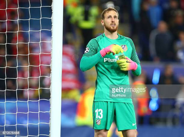 Jan Oblak of Atletico Madrid during UEFA Champions League QuarterFinals match between Leicester City and Atletico Madrid at King Power Stadium...