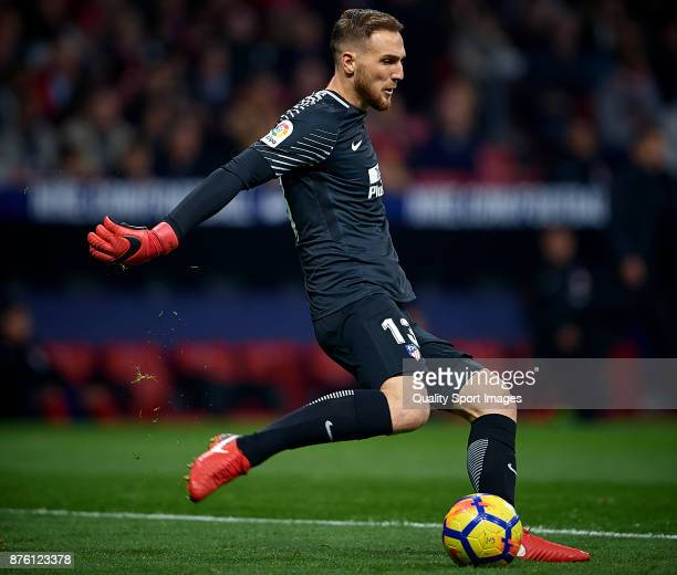 Jan Oblak of Atletico Madrid in actio during the La Liga match between Atletico Madrid and Real Madrid at Wanda Metropolitano Stadium on November 18...