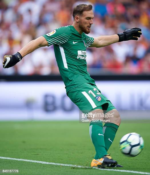 Jan Oblak of Atletico Madrid in action during the La Liga match between Valencia and Atletico Madrid at on September 9 2017 in Valencia
