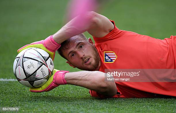 Jan Oblak of Atletico Madrid makes a save during an Atletico de Madrid training session on the eve of the UEFA Champions League Final against Real...