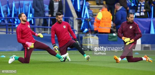 LR Jan Oblak of Atletico Madrid Miguel Ángel Moya of Atletico Madrid and Argentina Pablo Vercellone Goalkeeper Coach during UEFA Champions League...