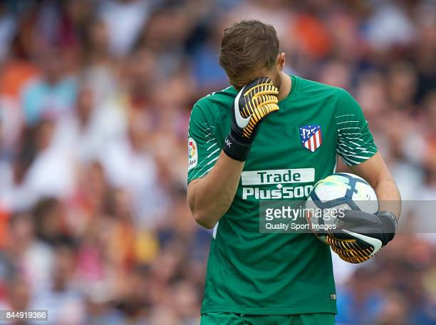 Jan Oblak of Atletico Madrid reacts during the La Liga match between Valencia and Atletico Madrid at on September 9 2017 in Valencia Spain