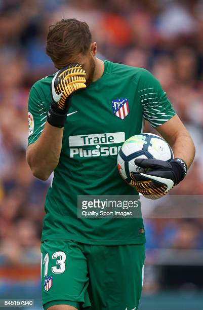 Jan Oblak of Atletico Madrid reacts during the La Liga match between Valencia and Atletico Madrid at on September 9 2017 in Valencia