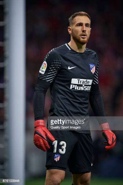 Jan Oblak of Atletico Madrid reacts during the La Liga match between Atletico Madrid and Real Madrid at Wanda Metropolitano Stadium on November 18...