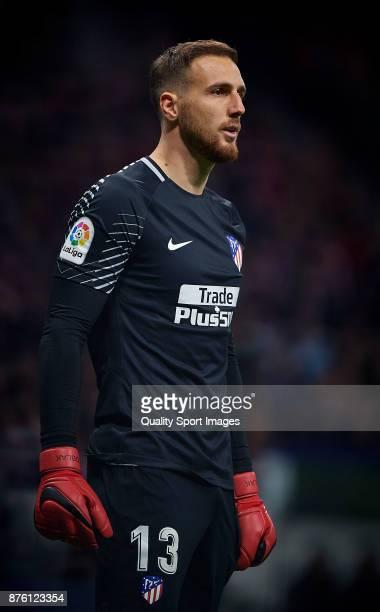 Jan Oblak of Atletico Madrid reacts during the La Liga match between Atletico Madrid and Real Madrid at Wanda Metropolitano Stadium on November 18...