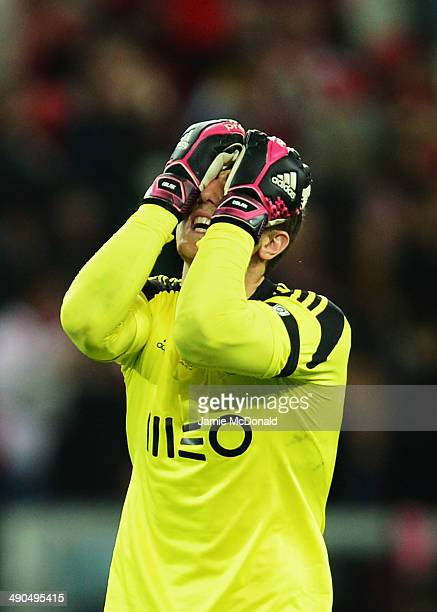 Jan Oblak of Benfica shows his frustration during the UEFA Europa League Final match between Sevilla FC and SL Benfica at Juventus Stadium on May 14...