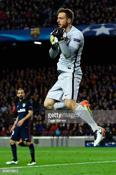 Jan Oblak of Club Atletico de Madrid blocks the ball during the UEFA Champions League quarter final first leg match between FC Barcelona and Club...