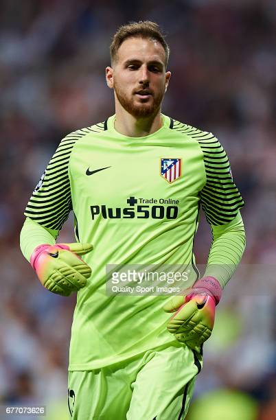 Jan Oblak of Club Atletico de Madrid looks on during the UEFA Champions League semifinal first leg match between Real Madrid CF and Club Atletico de...