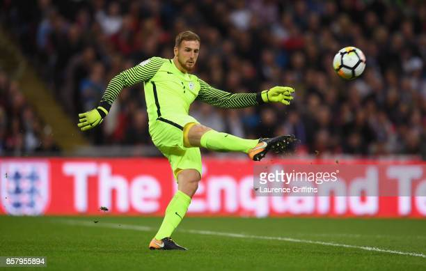 Jan Oblak of Slovenia clears the ball during the FIFA 2018 World Cup Group F Qualifier between England and Slovenia at Wembley Stadium on October 5...
