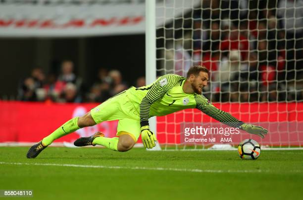 Jan Oblak of Slovenia during the FIFA 2018 World Cup Qualifier between England and Slovenia at Wembley Stadium on October 5 2017 in London England
