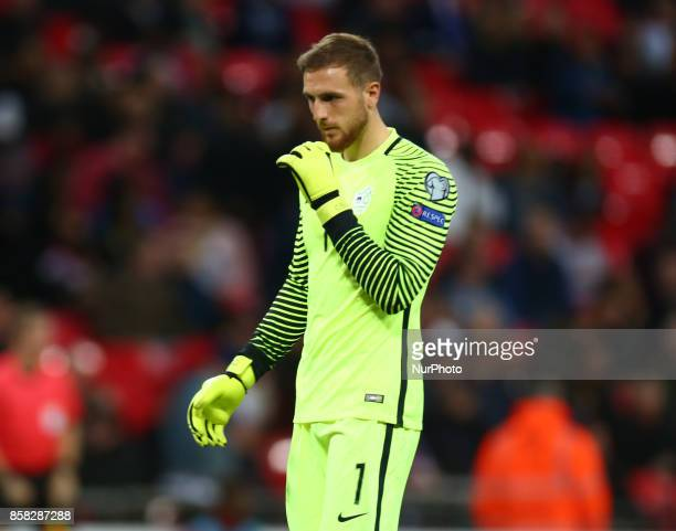 Jan Oblak of Slovenia in action during FIFA World Cup Qualifying European Region Group F match between England and Slovenia at Wembley stadium London...