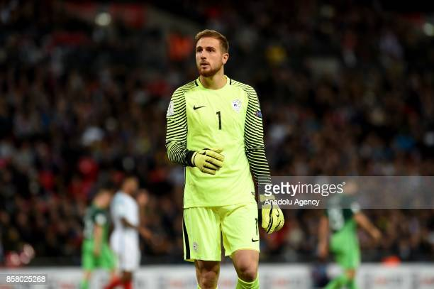 Jan Oblak of Slovenia in action during the 2018 FIFA World Cup European Qualification football match between England and Slovenia at Wembley Stadium...