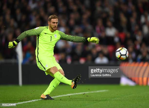 Jan Oblak of Slovenia in action during the FIFA 2018 World Cup Qualifier between England and Slovenia at Wembley Stadium on October 5 2017 in London...
