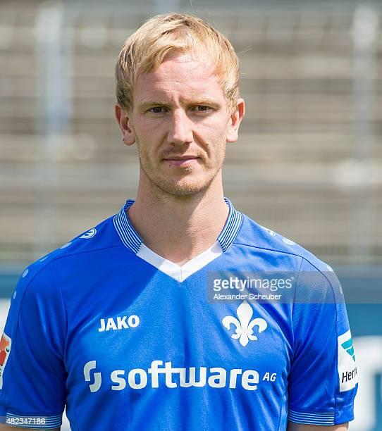 Jan Rosenthal poses during the team presentation of SV Darmstadt 98 at MerckStadion am Boellenfalltor on July 30 2015 in Darmstadt Germany