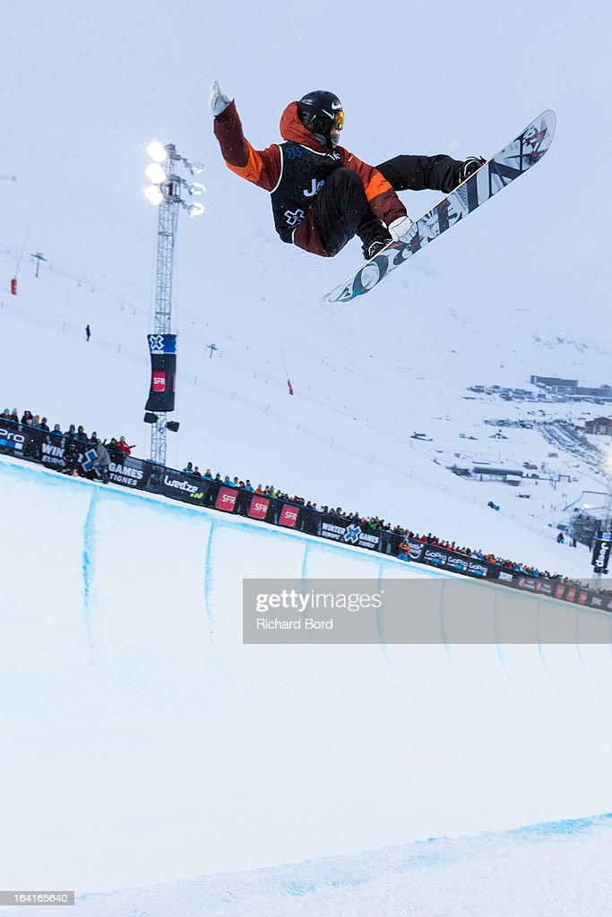 Jan Scherrer of Switzerland performs during the Men's Snowboard Superpipe elimination during day three of Winter X Games Europe 2013 on March 20, 2013 in Tignes, France.