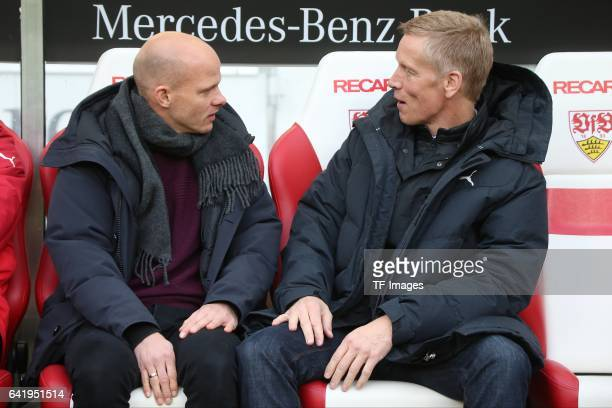 Jan Schindelmeiser of VfB Stuttgart speak with Tobias Werner of Stuttgart during the Second Bundesliga match between VfB Stuttgart and SV Sandhausen...