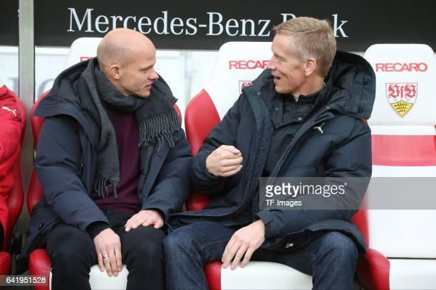 Jan Schindelmeiser of VfB Stuttgart speak with Tobias Werner of Stuttgart during the Second Bundesliga match between VfB Stuttgart and SV Sandhausen...