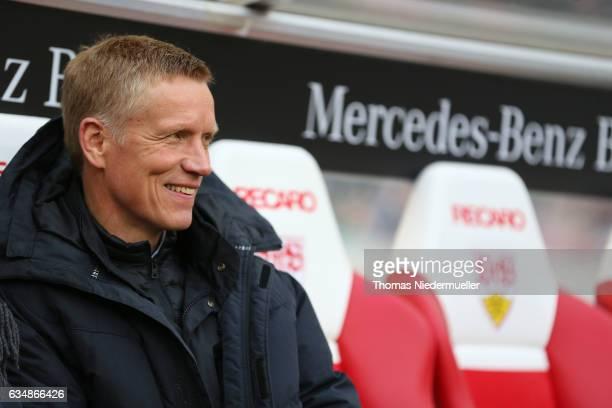 Jan Schindelmeiser sportding director of VfB Stuttgart is seen prior to the Second Bundesliga match between VfB Stuttgart and SV Sandhausen at...